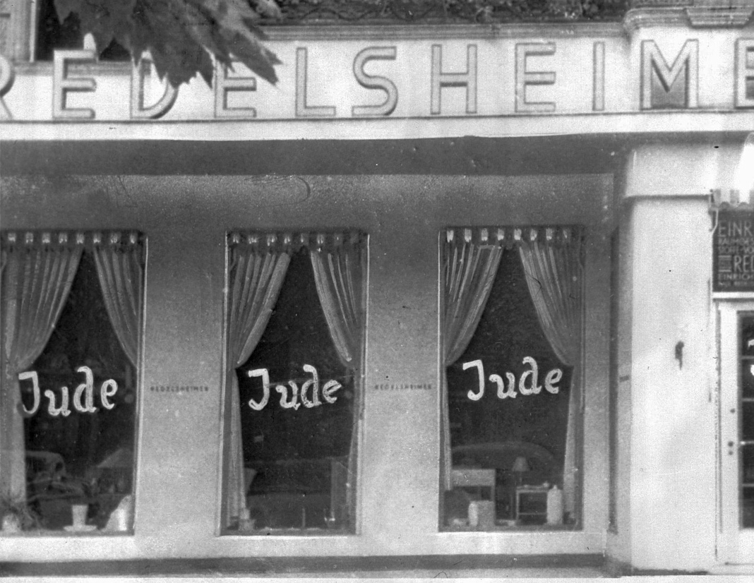 Berlin windows painted with the word Jude, 1938