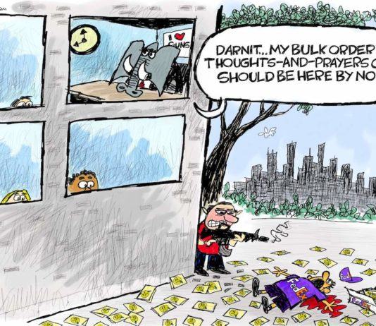 Cartoon: Gun control absolutely positively right now