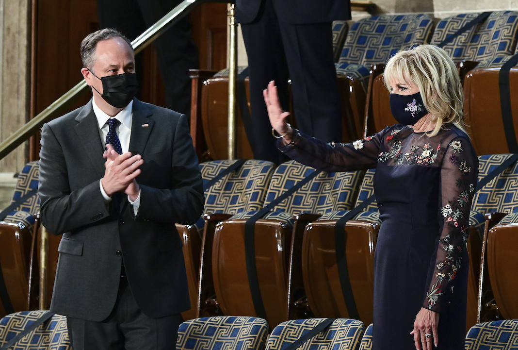 Doug Emhoff and Jill Biden with masks