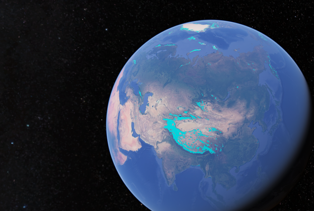 Google Earth showing Asia