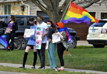 Protesters against anti-LGBTQ discrimination