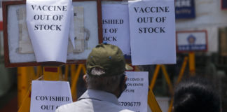 'Vaccine Out of Stock' signs in Mumbai