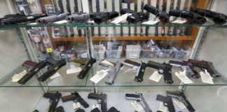 Guns on display in a store