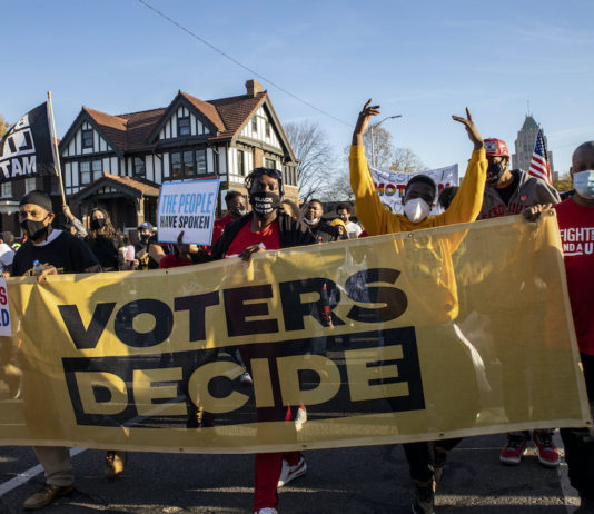 Protesters support vote results in Detroit, November 2020