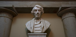 A marble bust of former Chief Justice Roger Taney.