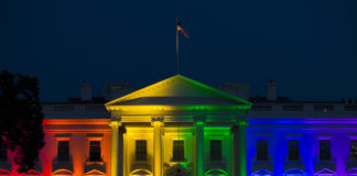 White House with rainbow lights