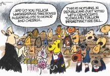 Cartoon: Woof woof, meow meow, spend spend