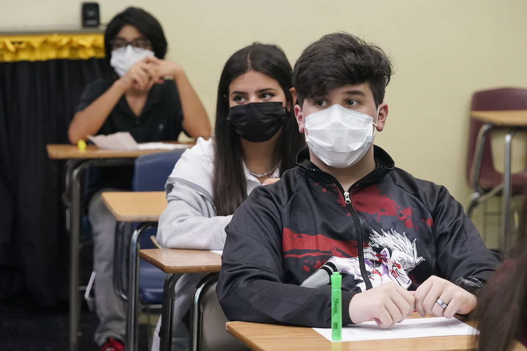 Masked school students