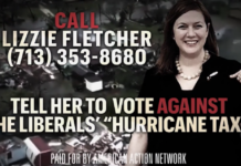 Frame from hurricane tax ad