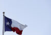 A detail view of the Texas State flag